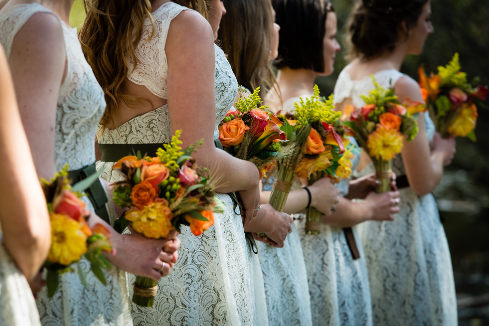 Fall Wedding Bouquets with Wheat