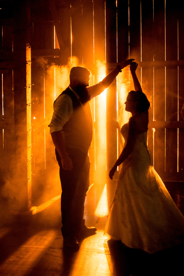 Bride and Groom Barn Sunset