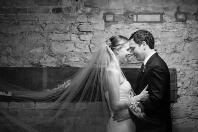 Wedding Portrait with Brick Wall