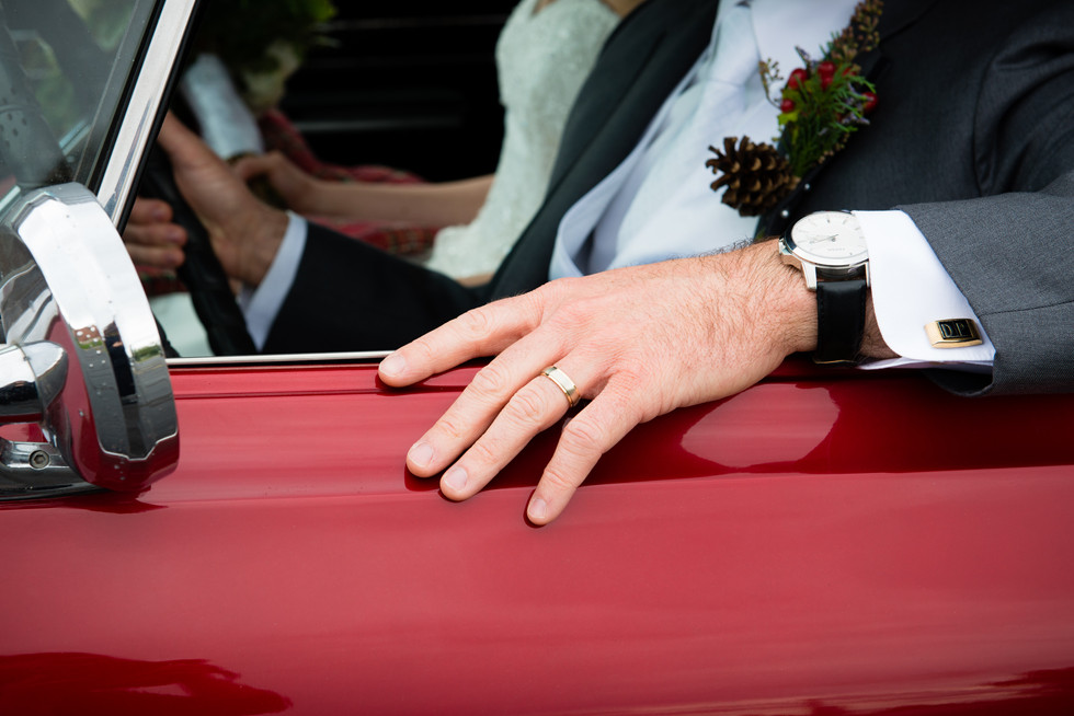 Groom Wedding Ring with Antique Car