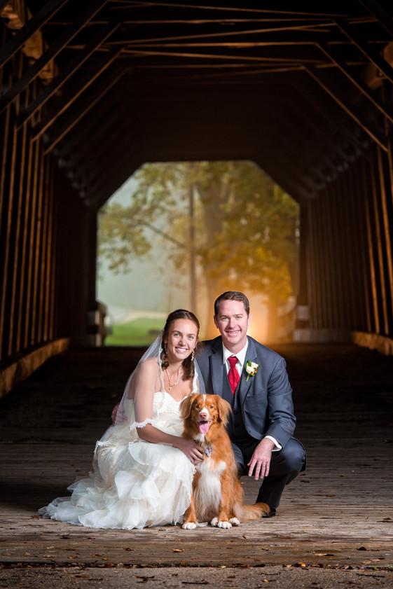 Covered Bridge Wedding Portrait with Dog