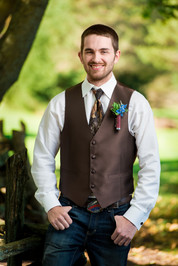 Fall Groom Portrait with Camo Tie