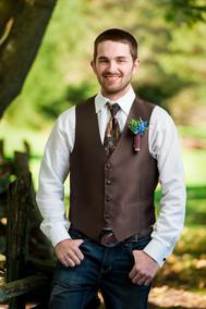 Fall Groom Portrait with Camo Tie