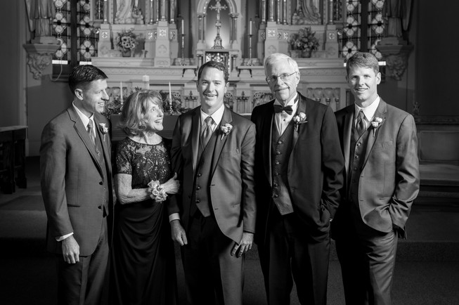Groom with Family, Milwaukee WI Wedding
