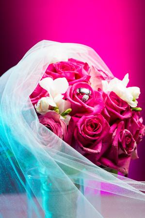 Hot Pink Roses Wedding Bouquet