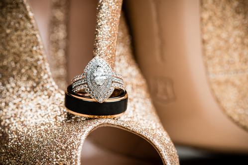 Wedding Rings with Gold Glitter Bride Shoes