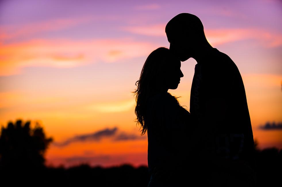 Sunset Silhouette Engagement Lanari Photography