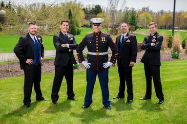 Groomsmen with Marine Groom