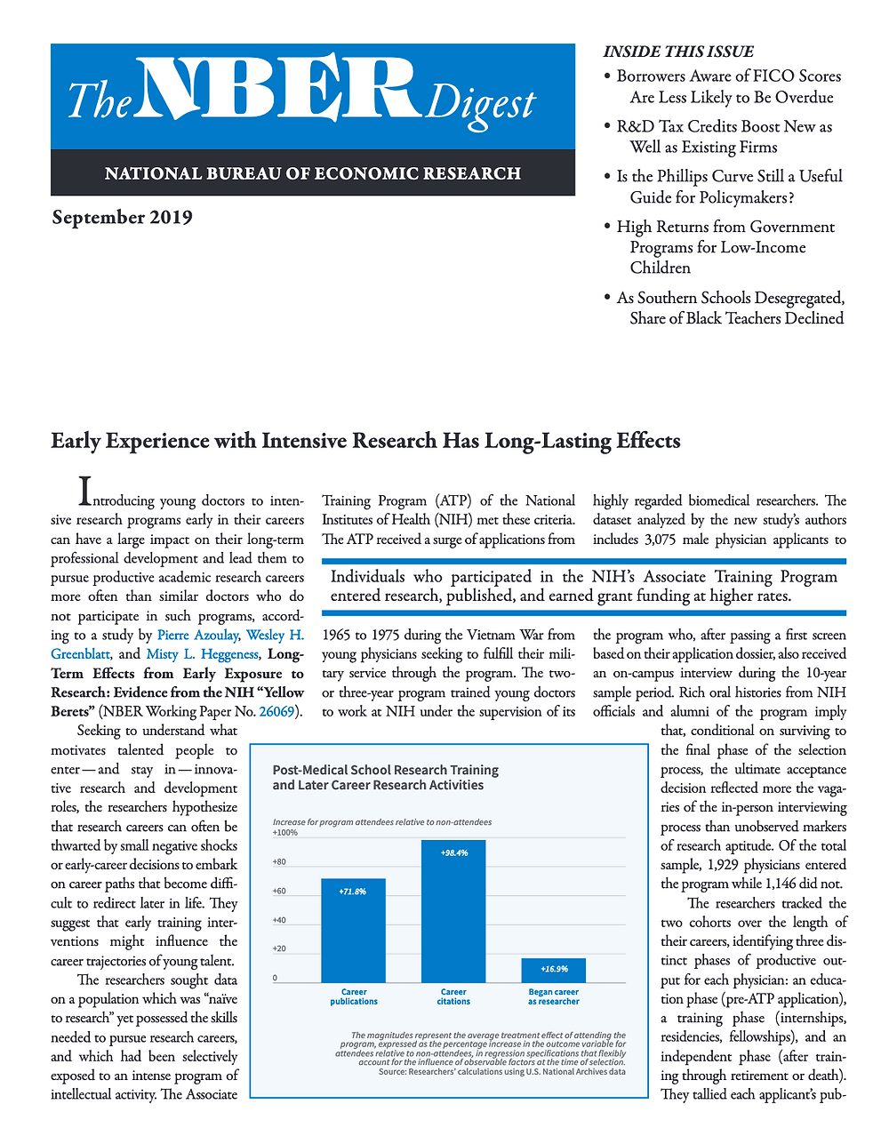 NBER Digest Early Experience with Intensive Research has Long-Lasting Effects