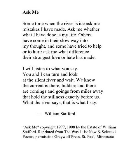Mornings? Ask Me  On Stafford's Poem, Kitchens, and Rivers