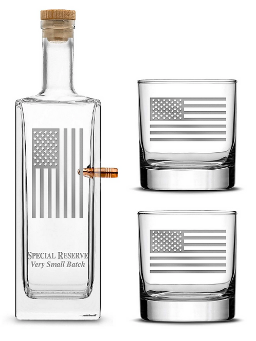 American Flag Premium .50Cal BMG Bullet Bottle Set, Liberty Whiskey Decanter