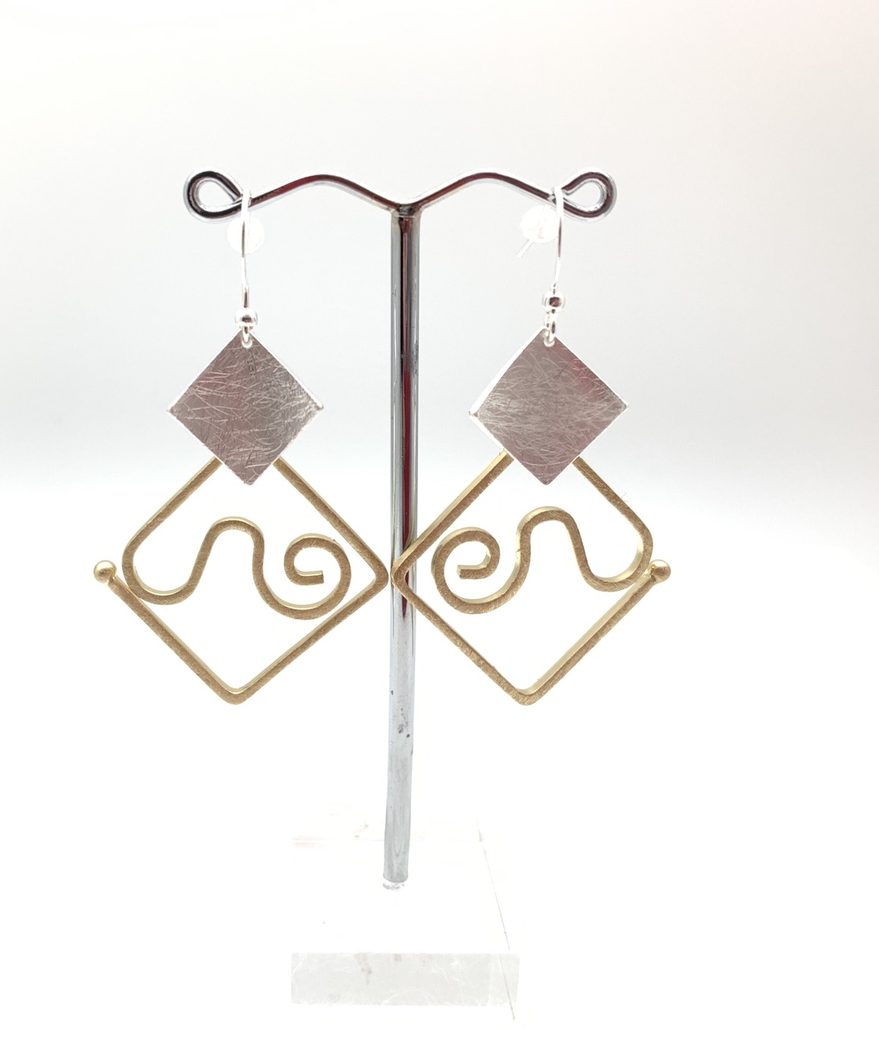 Thumbnail: EG440 Gold and Silver Origami Swirl Earrings