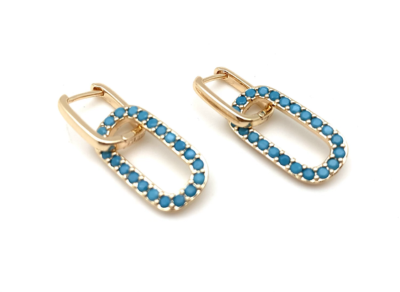 H179 Turquoise Paper Clip Huggies Goldfill Hoops