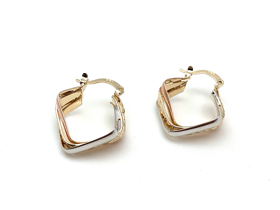H168 Tri Color Geometric Hoops