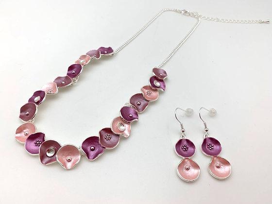 """#101 Pink """"Hana Kanmuri"""" Flower Blossom Necklace Earrings Set"""