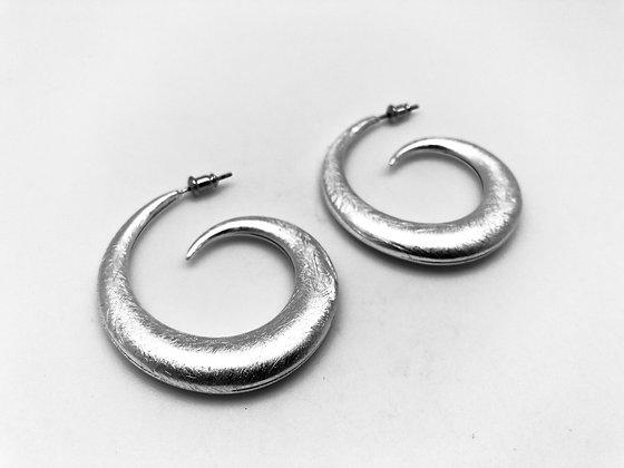 ES171 Silver Magatama Hoop Earrings