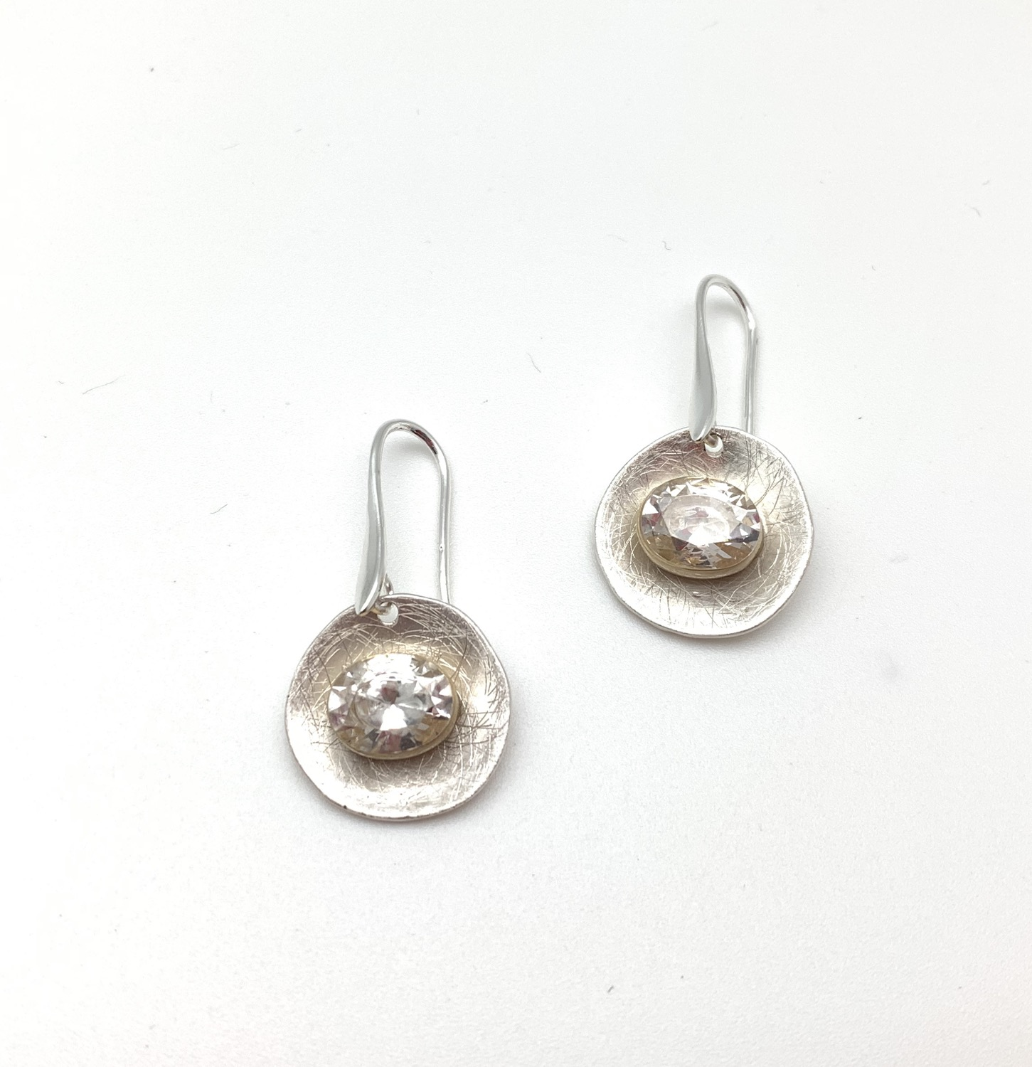Thumbnail: ES431 Silver and Gold Swarovski Drop Earrings (Matching Necklace NS70)
