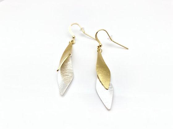 EG285 Gold and Silver Two Tone Soroban Earrings