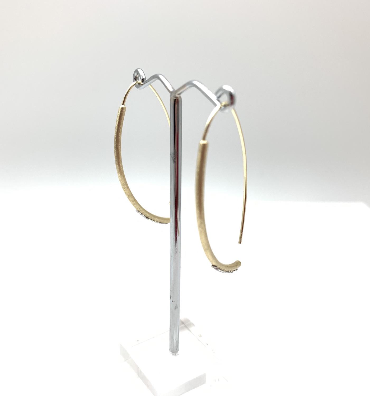 Thumbnail: EG438 Gold Sparkle Swing Earrings