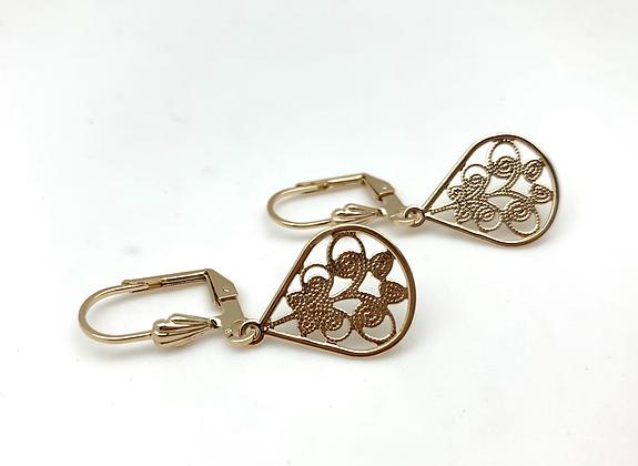 H171 Gold Swirl Fan Earrings
