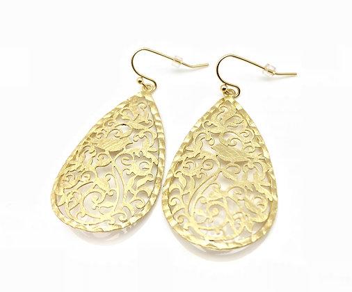 EG243 Gold Tori-Cago, Bird Cage Earrings