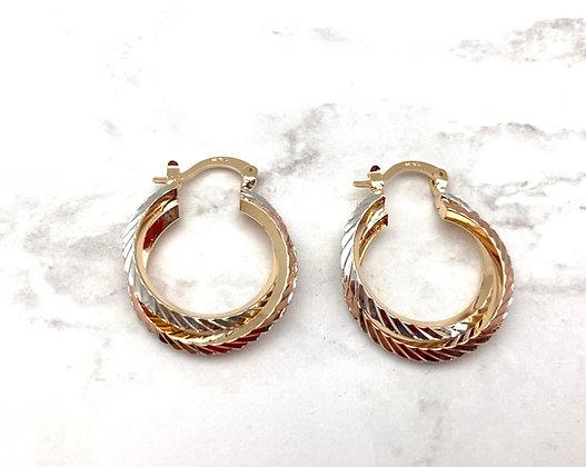 H160 Tricolor Twist Goldfill Earrings