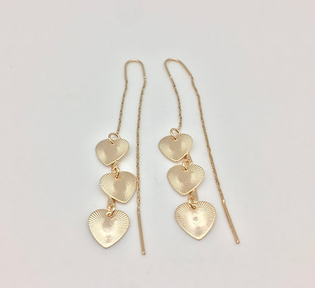 H12 Heart Threader Earrings, Gold Fill, Lever Wire