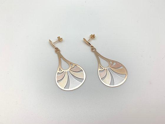 H138 Tricolor Teardrop Earrings