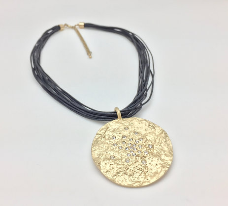 NG37 Gold Meteorite Disk with Black Cord Necklace