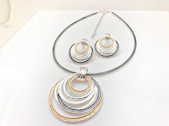 #50 Wave Barrel Necklace Earrings Set