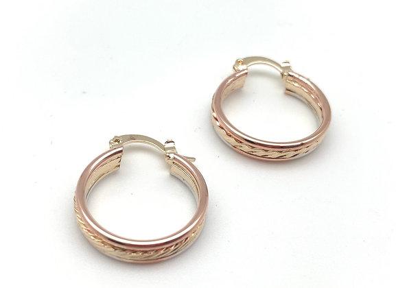 H154 Tri Color Medium Hoop Earrings