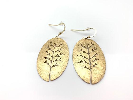 EG322 Gold Tree Earrings