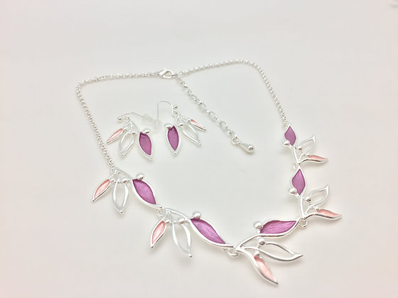 #34 Pink Bird of Paradise Necklace Set