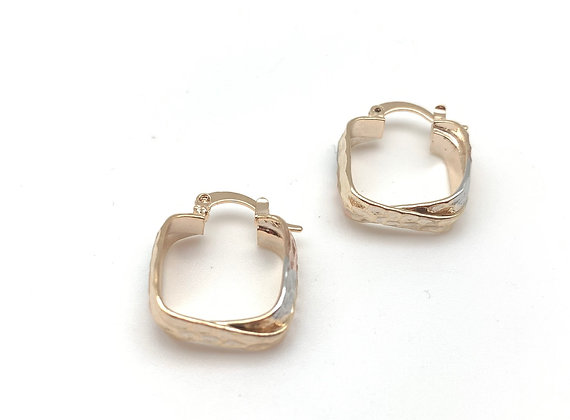 H156 Tricolor Small Square Hoop Earrings, Best Selling