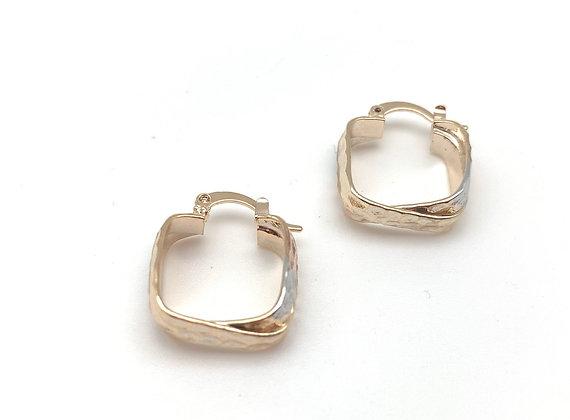 H156 Tricolor Small Square Hoop Earrings, Best Selling