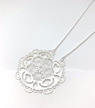 "NS64 SALE Final Price $15 Silver Long Lacy Necklace (24"" to 29"")"