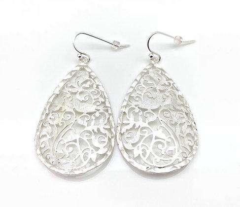 ES242 Silver Tori-Cago Bird Cage Earrings