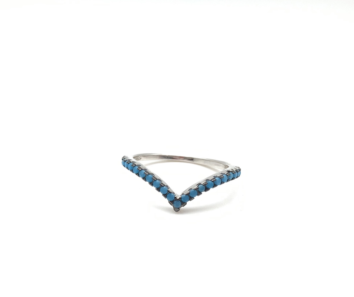 Thumbnail: SR1 Micro Turquoise Sterling Silver Wave Ring, Size 5, 6, 7, 8, 9, 10