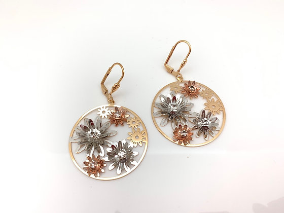 H120 Tri Color Flower Circle Earrings