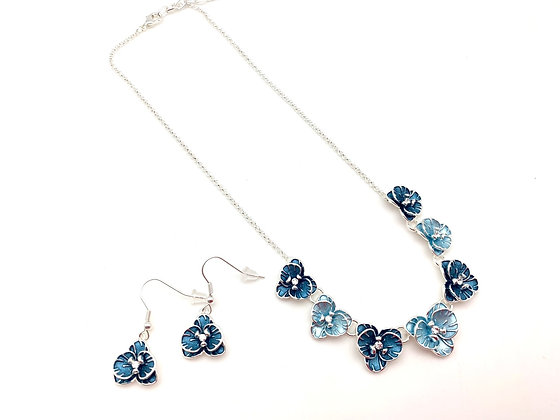 "#105 Blue ""Ran"" Orchid Necklace Earrings Set"