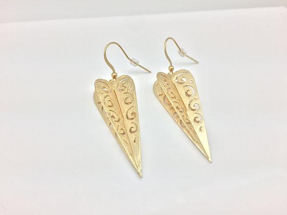 EG61 Gold Origami Hearts Earrings