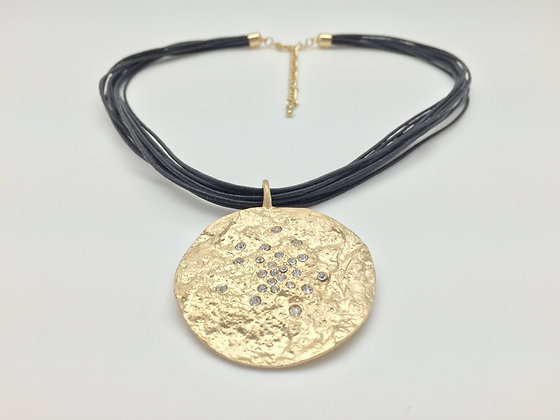 NWG3. Gold Disk Necklace with Waxed Cord