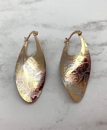 H162 Tricolor Twist Iris Goldfill Earrings