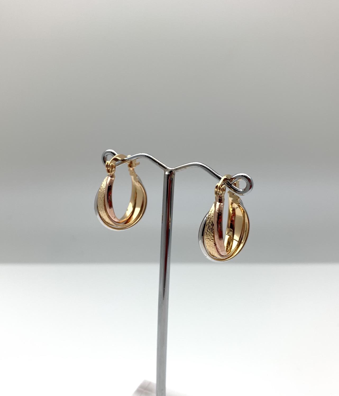 Thumbnail: H125 Tricolor Small Hoop Earrings