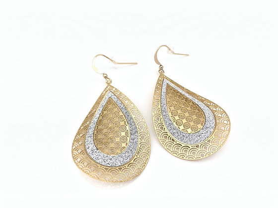 EG390 Gold Sparkling Leaf Earrings, Best Seller!