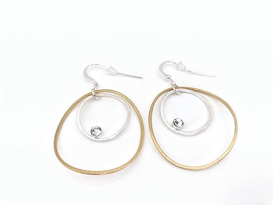 EG382 Gold and Silver Loop in Loop Earrings