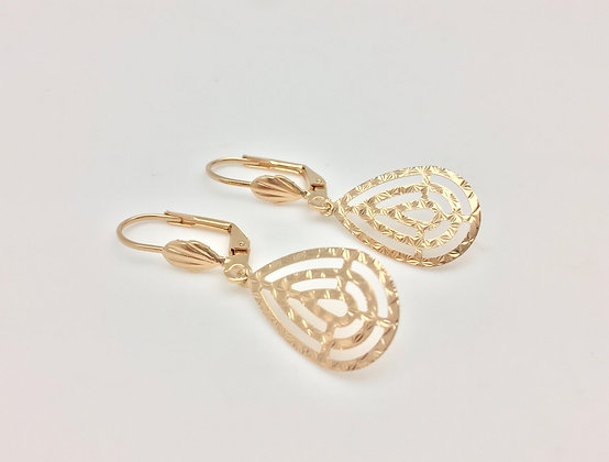 H2 Open Teardrop Earrings, Gold Fill,  Lever Wires