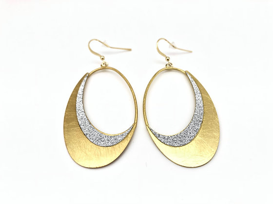 EG271 Gold Open Oval Sparkling Earrings