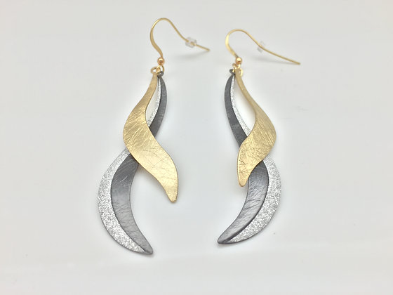 EG 4. Two Tone Sparkle Ribbon Earrings