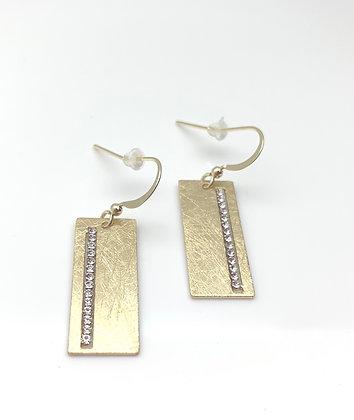 EG332 Gold Small Rectangle Sparkle Earrings